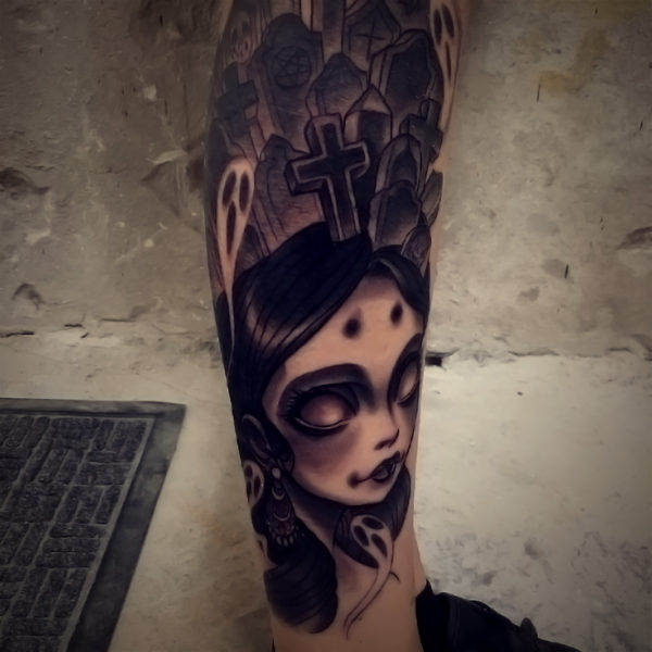 Dock: Black & Grey Crypt Girl